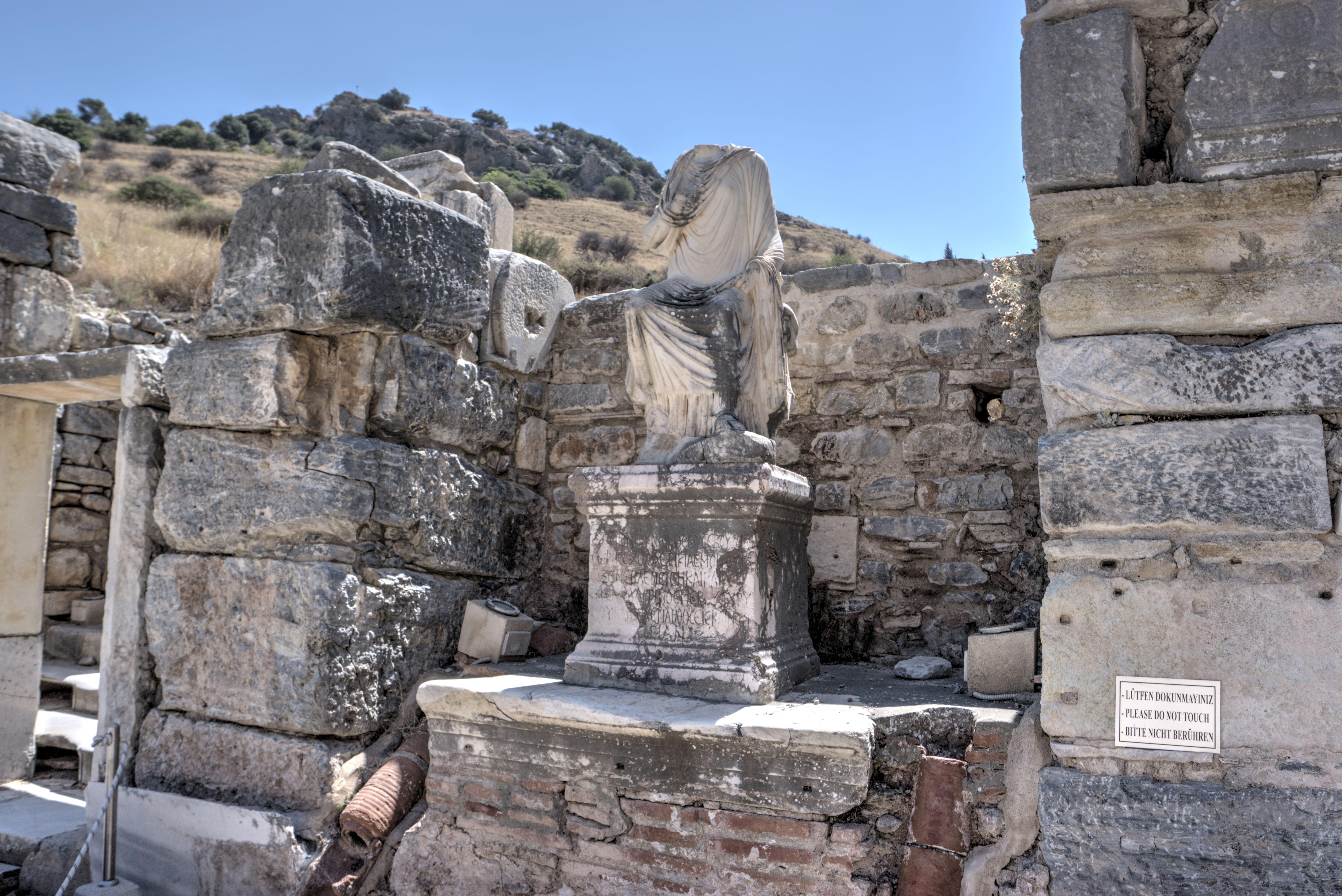 Scholastica Baths in Ephesus - the statue of Scholastica