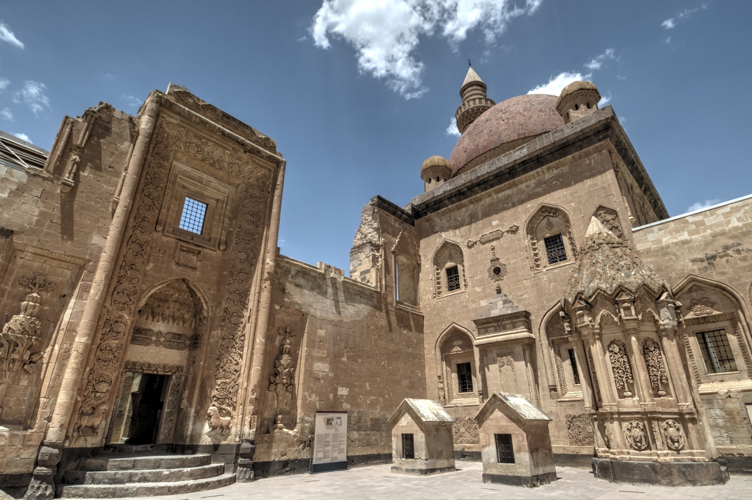 Ishak Pasha Palace - the gate to the harem section, the mosque, and the mausoleum