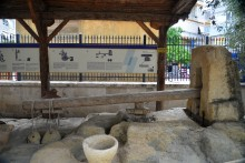 Olive oil press in the museum's garden