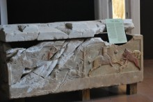 Altıkulaç sarcophagus, a painted marble sarcophagus of Graeco-Persian type, found in a single circular corbel-vaulted tomb of the Çingenetepe tumulus at the village of Altıkulaç near the town of Çan, Archaeology Museum in Çanakkale