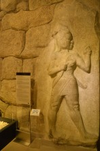 Original relief of a warrior god from the King's Gate in Hattusa, now on display in the Museum of Anatolian Civilizations in Ankara