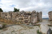 Lion Gate in Hattusa and the fortification wall - seen from the city