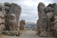 A pair of lions decorating the Lion Gate in Hattusa