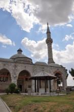 Single minaret and ablution fountain of Muradiye Mosque in Edirne
