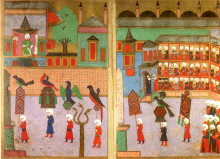 Image of a procession in the Hippodrome of Constantinople, showing the cloth-weavers in front of the Sultan. Ottoman miniature from the Surname-i Vehbi (1582), kept at the Topkapı Sarayı Müzesi, Istanbul