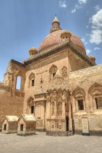 Ishak Pasha Palace - the mosque and the mausoleum seen from the inner courtyard