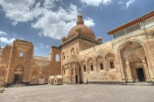 Ishak Pasha Palace - the gate to the harem section, the mosque, the mausoleum, and the door to the selamlik section